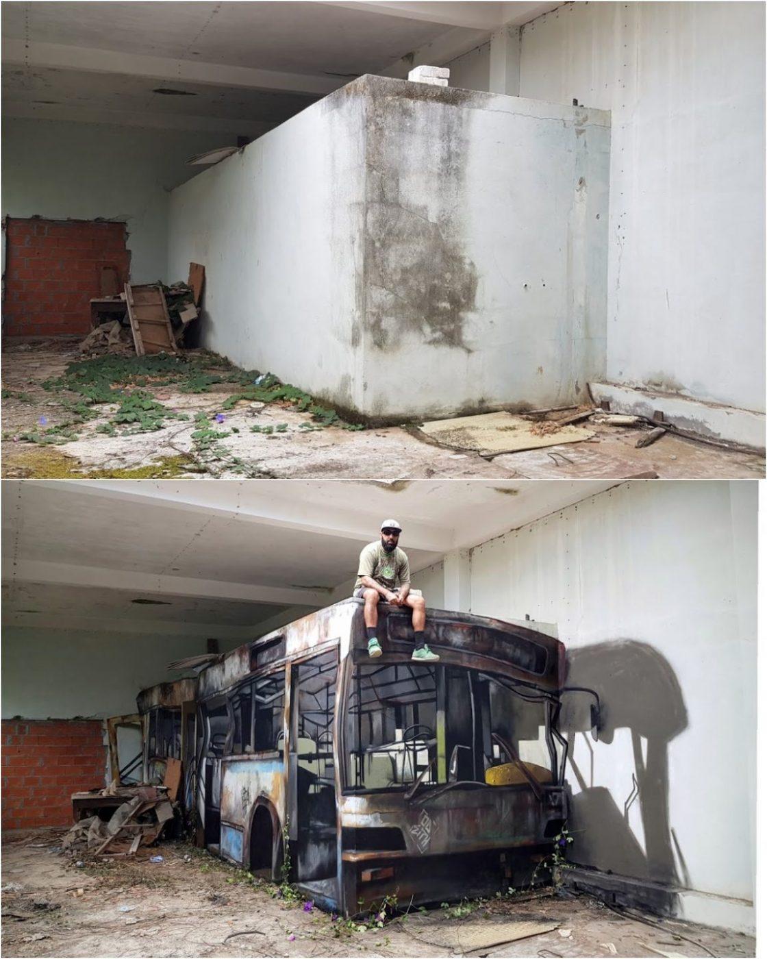 இந்தப் படங்களில் என்ன புதுமை? Wrecked-bus-before-after